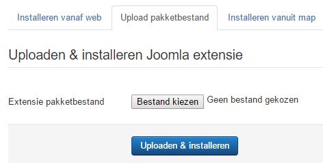 Joomla pakket installeren