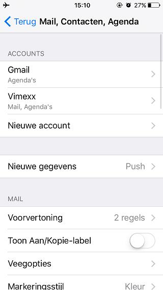 mail contacten agenda