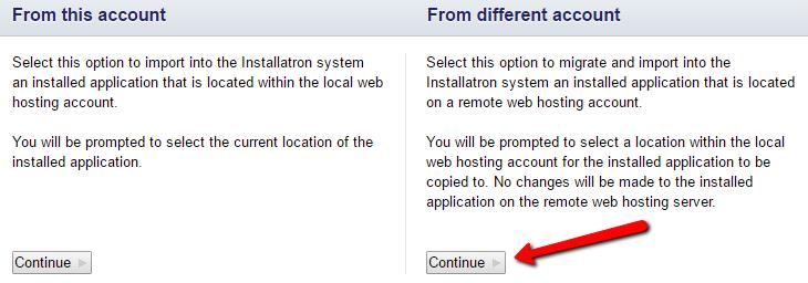 installatron where from selection